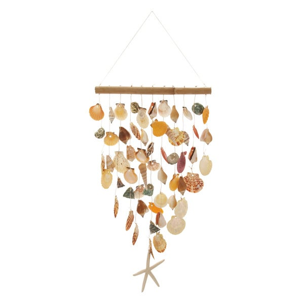 Rattan Shell Wind Chime 12-inch x 30-inch Garden Accent