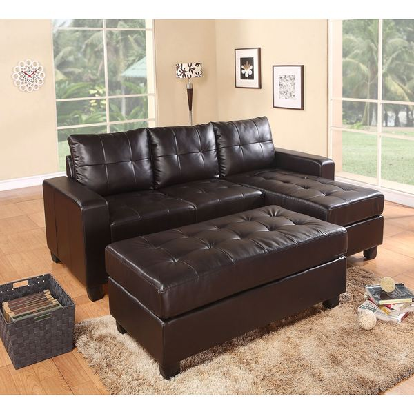 LYKE Home Town Sectional w/ Ottoman, Espresso
