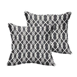 Selena Wavy Black Indoor/ Outdoor Flange Square Pillows (Set of 2)