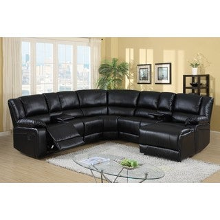LYKE Home Candice Bonded Leather Match Sectional, Black