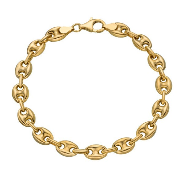 14k Yellow Gold 5mm Puff Mariner Anklet
