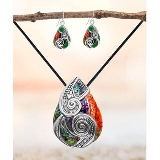 Bleek2sheek Rainbow Mosaic Teardrop Choker Necklace and Earring Jewelry Set