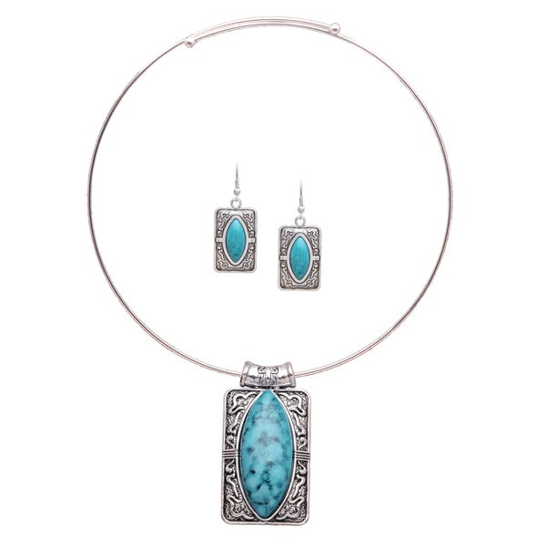 Mayan Love Faux Turquoise Cats Eye Choker Necklace and Earring Jewelry Set