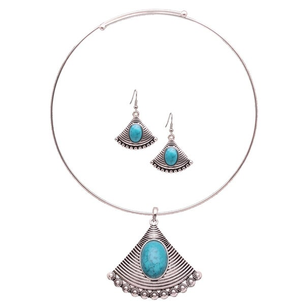 Mayan Love Faux Turquoise Fan Feather Choker Necklace and Earring Jewelry Set