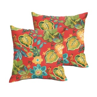 Selena Red Tropical Indoor/ Outdoor Knife-Edge Square Pillows (Set of 2)