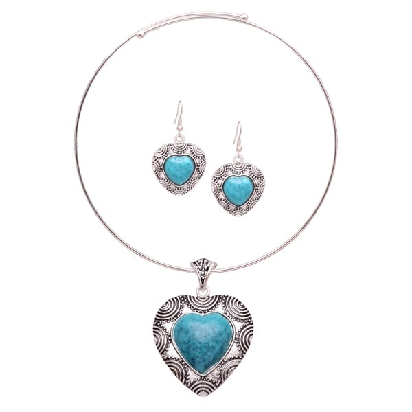 Mayan Love Faux Turquoise Heart Choker Necklace and Earring Jewelry Set