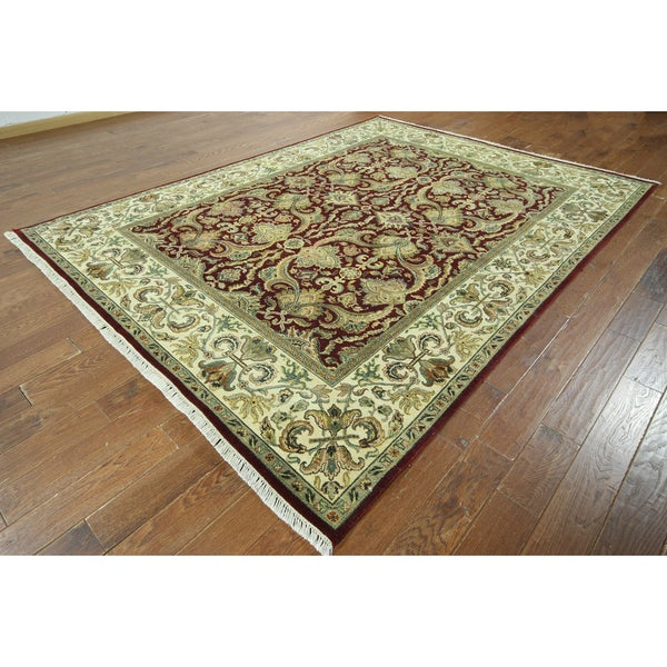 W838 Red/ Ivory Oriental Rajasthan Cropped Thin Hand-knotted Rug (8' x 10')