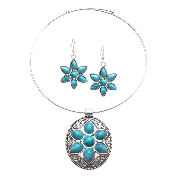 Mayan Love Faux Turquoise Oval Star Choker Necklace and Earring Jewelry Set