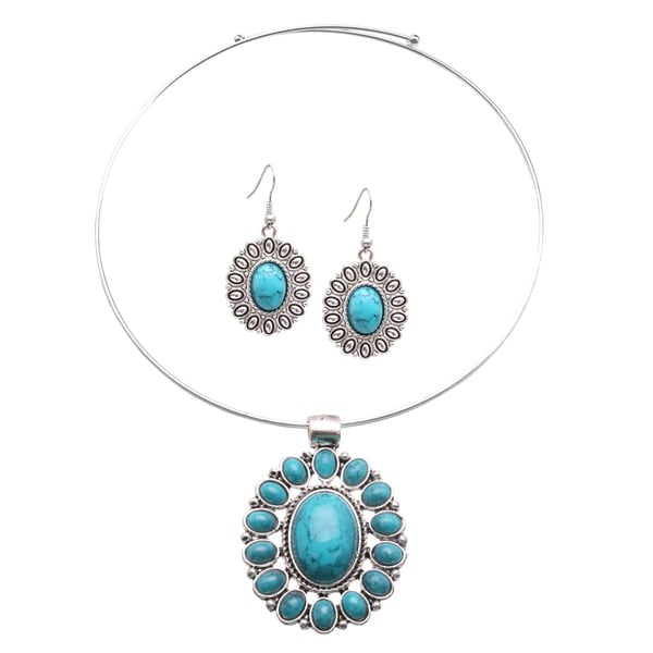 Mayan Love Faux Turquoise Oval Flower Choker Necklace and Earring Jewelry Set