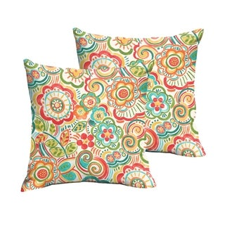 Selena Red Rio Floral Indoor/ Outdoor Knife-Edge Square Pillows (Set of 2)