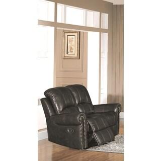 LYKE Home Gretchen Leather Match Recliner Loveseat, Black