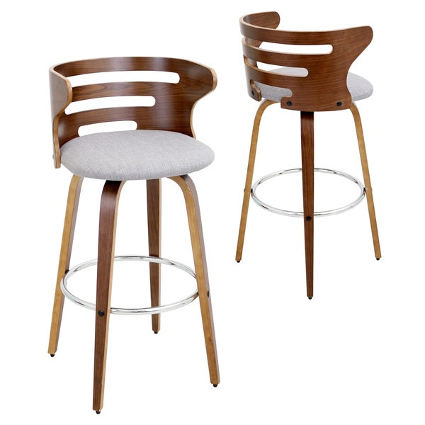 Cosini Mid Century Modern Walnut Wood 29 Inch Bar Stool
