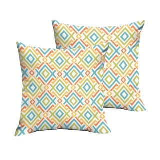 Selena Blue Green Geometric Indoor/ Outdoor Knife-Edge Square Pillows (Set of 2)