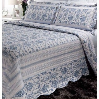 Blue Wisteria Lattice 3-piece Quilt Set