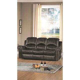LYKE Home Gretchen Leather Match Recliner Sofa, Black
