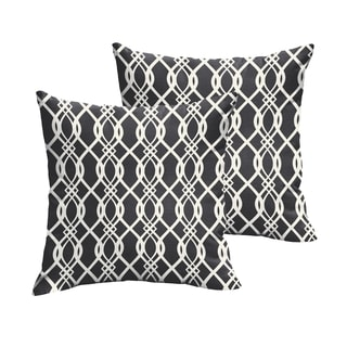 Selena Wavy Black Indoor/ Outdoor Knife-Edge Square Pillows (Set of 2)