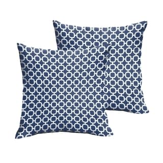Selena Navy Chainlink Indoor/ Outdoor Knife-Edge Square Pillows (Set of 2)