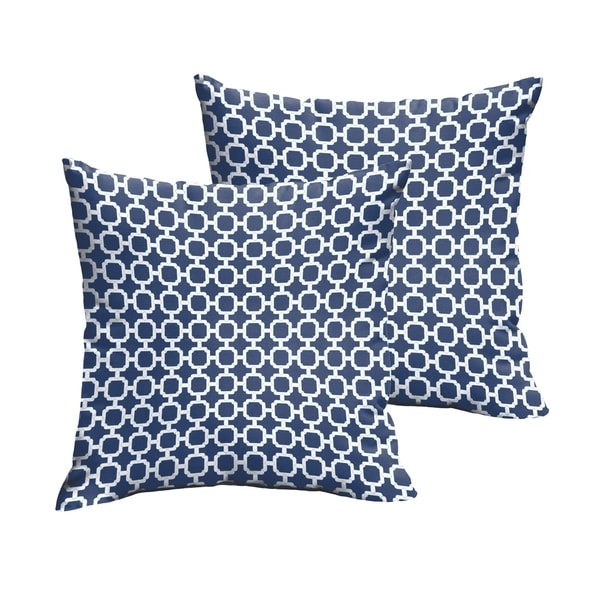Selena Navy Chainlink Indoor/ Outdoor Knife-Edge Square Pillows
