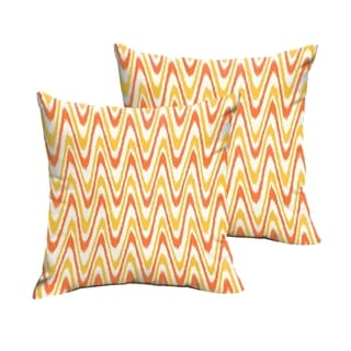 Selena Citrus Waves Indoor/ Outdoor Knife-Edge Square Pillows (Set of 2)