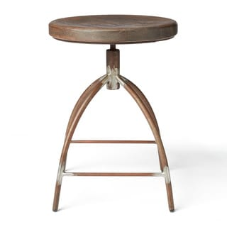 Steel and Mango Wood Dining Stool