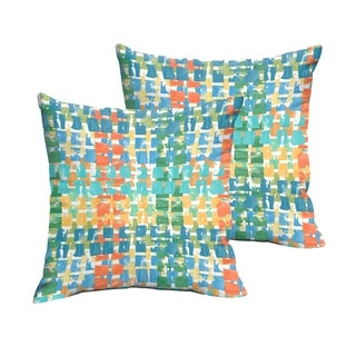Selena Blue Green Squares Indoor/ Outdoor Knife-Edge Square Pillows (Set of 2)