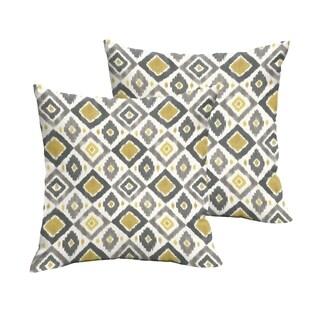 Selena Grey/ Gold Diamonds Indoor/ Outdoor Knife-Edge Square Pillows (Set of 2)