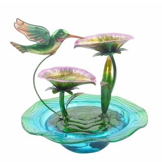 Peaktop Indoor Hand Painted Hummingbird Glass Tabletop Water Fountain
