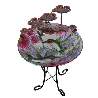 Peaktop Indoor Hand Painted Hummingbird Glass Fountain