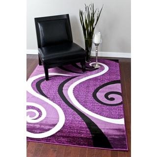 Modern Trendz Collection Purple Swirl Rug (7'10 x 10'6)