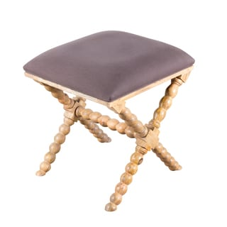 Putty Natural Wood and Linen Stool