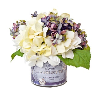 Cream and Lavender Hydrangeas in French Labeled Vase