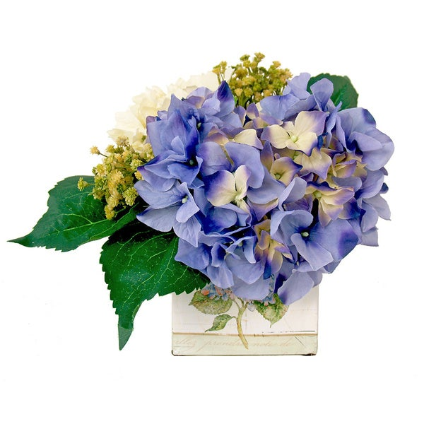 Hydrangea and Baby's Breath Floral in Decorative Tin Container