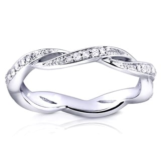 Annello 10k White Gold 1/6ct TDW Round Diamond Twist Eternity Band (H-I, I1-I2)