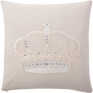 Andrew Charles Handbeaded Crown Print 20-inch Throw Pillow