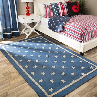 Andrew Charles All American Collection Navy/Light Grey Area Rug (5' x 8')