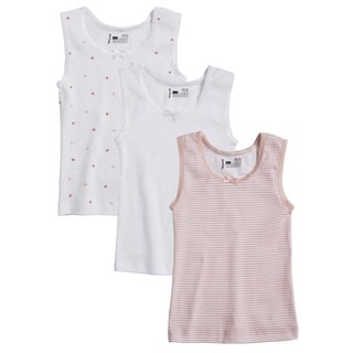 Sportoli Girl's 100-Percent Cotton Tagless Multicolor Tank Vest Undershirts