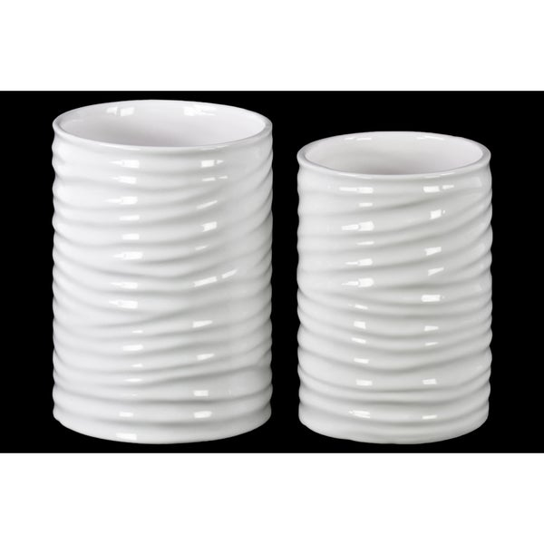 Gloss Finish White Ceramic Tall Cylinder Pot with Ribbed Design Body (Set of 2)