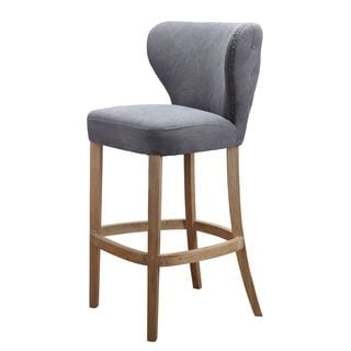 Margo Linen Fabric Tufted Wing Back Counter Stool