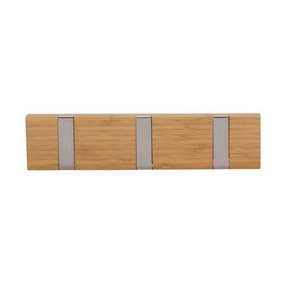 Household Essentials Natural Bamboo Recessed Hook Wall Coat Rack