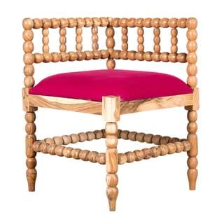 Fuchsia Natural Wood and Linen Corner Chair