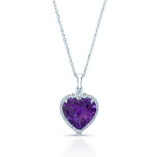 14k White Gold 1/8ct TDW Diamond and Amethyst Heart Pendant (H-I, VS1-VS2)