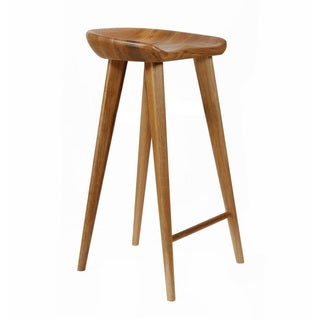 SB Tractor Walnut Contemporary Carved Wood Bar Stool