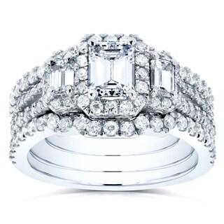 Annello 14k White Gold 1 3/4ct TDW Three Stone Emerald Shape Diamond Bridal Rings 3-Piece Set (H-I, SI)