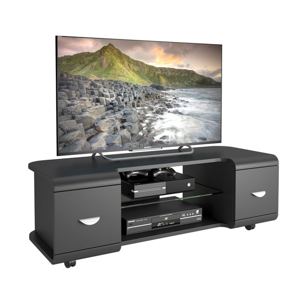 CorLiving Panorama Black TV Stand with Casters, for TVs up to 57""