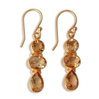 Handcrafted Gold Overlay 'Golden Dazzle' Citrine Earrings (India)