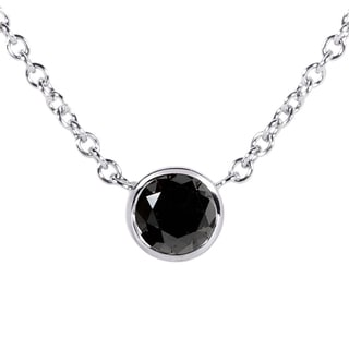 Annello 14k White Gold 1/4ct Black Diamond Solitaire Bezel Pendant