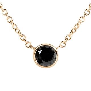 Annello 14k Yellow Gold 1/4ct Black Diamond Solitaire Bezel Pendant