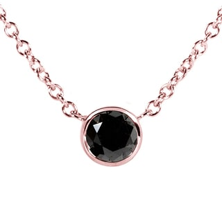 Annello 14k Rose Gold 1/4ct Black Diamond Solitaire Bezel Pendant