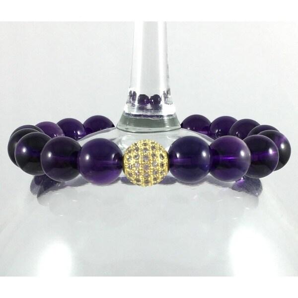 Terra Charmed Amethyst Bracelet with CZ Bead