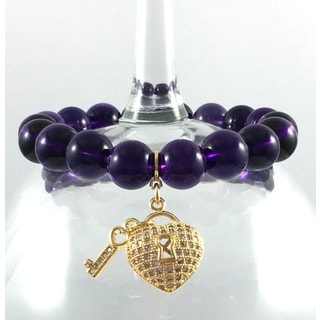 Terra Charmed Amethyst Beaded Bracelet with Interchangeable CZ Heart and Key Charm